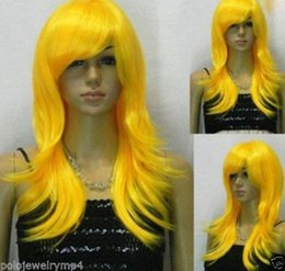 Wholesale Blonde Haired - 100% Hot Sell Brazil dark-haired woman wig cosplay Heat Resistant synthetic??New wig Cosplay Yellow Medium Straight Wig