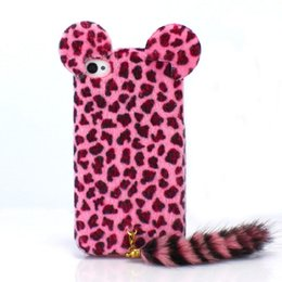 """Wholesale Iphone 4s Cases Hair - Winter Leopard Printing case Soft Skin for Iphone 6 6s 4 4s 5 5s 6 plus 5.5"""" 7 7 plus Hard PC Back Case Cute Cat Shape Hair Tails Phone Case"""