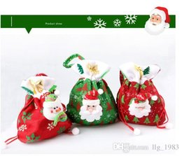 Wholesale Green Santa - 2016 Hot s Christmas Green & Red Three Styles Santa Claus Candy Bags Christmas Indoor Decorations (12pcs lot)