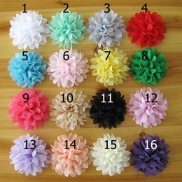 Wholesale Flowers Trimmings - Shabby Chiffon Flower baby hair accessories 10cm Rosette Shabby Rose Trim Frayed Flowers baby hair accessories Single flower Fabric flower