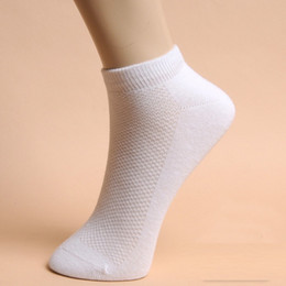 Wholesale Men White Cotton Socks - 20 Pairs lot Summer Men's socks Casual polyester breathable Solid Colors sports Mesh short boat socks for Male