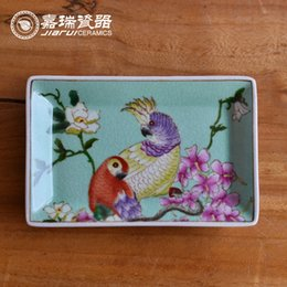 Wholesale Chinese Trinkets - Chinese ceramic Square Soap Dish floral and birds Design Porcelain trinket tray hand painted bathroom Supplies