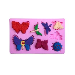 Wholesale Dragonflies Silicone Mold - Silicone 3D Cake Moulds Butterfly Dragonfly Ladybug Fondant Mold chocolate suar craft moules bakeware decorating tools WHOLESALE