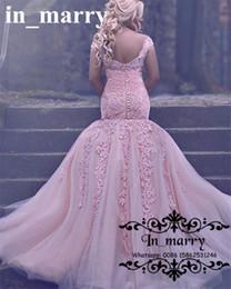 Wholesale Engagement Dress Gown - Pink Plus Size Lace Mermaid Evening Dresses 2018 Vintage Long Cheap African Arabic Design Vestidos Bridal Formal Engagement Prom Party Gowns