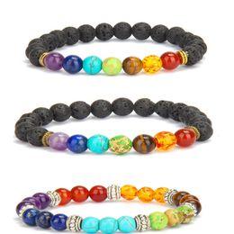Wholesale Party Energy - Natural Lava Rock Stone Bracelet 8mm Colorful Chakra Beads Bracelets Natural Volcanic Rocks Stone Yoga Elastic Energy Bracelets