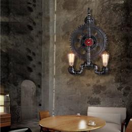 Wholesale modern cafe bar - Loft Creative Iron Industrial Gear Retro Wall Lamps Edison Bulb Water Pipe Wall Light Bar Cafes Restaurant Aisle Corridor Gear Wall Lights