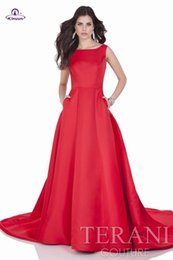 Wholesale Cheap Winter Dresses Online - New collection scoop ruffle skirts with low open back sexy red a line evening dresses court train online store cheap formal dress summer