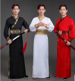 Wholesale Ancient Clothes - Ancient costume men performing clothes in han dynasty han fu swordsman