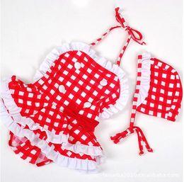 Kind bikini rot online-Kinderbadebekleidung Badeanzug Badebekleidung Rot-weißer karierter Bikini 1288 Rot-weißer karierter Badeanzug Kinder