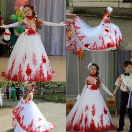Wholesale Children Strapless Flower Gown - 2016 Gorgeous White and Red Girls Pageant Dresses Strapless Tiers Tulle with Handmade Flower Princess Child Birthday Party Gowns