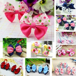 Wholesale Hair Bands Holder Sell - Free Shipping Hot Selling Cute Kids Mix Color Ribbon Elastic Hair bands Ponytail Holder Hair Tie For Girls Children Baby Hair Accessories
