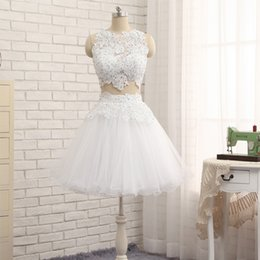 Wholesale Crystal Prom Dressess - 2017 New Two Pieces Short Homecoming Dresses White Lace Tulle Sleeveless Prom Dressess with Blue Crystals Custom Made