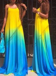 Wholesale Cheap Adult Ball Gowns - 2016 Summer Suit-dress Full Maxi European Printing Camisole Longuette Blue Gradual Change Casual Chiffon Dress Cheap Bodycon Dresses