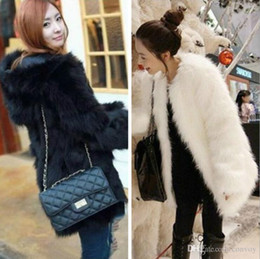 Wholesale womens fur lined coats - New Womens Faux Fox Fur Soft Warm Hair Hooded Coat Ladies Long Style Winter Thick Outwear With Lining Black White Topwear Free Shipping WT97