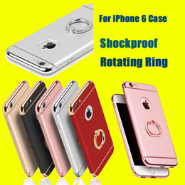 Wholesale Iphone Chrome Ring - For iPhone 7 7plus 6 6S Plus Shockproof 3 in 1 Rotating Ring Stand Armor Hard Back Case Chrome Cover For iphone6 6plus DHL SCA151