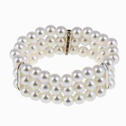 2019 diseño de brazaletes de imitación Nueva Llegada Diseño Simple Noble Perlas de Imitación Elástico Pulsera Brazaletes Declaración Accesorios Joyería Regalo de las mujeres DHB047 diseño de brazaletes de imitación baratos
