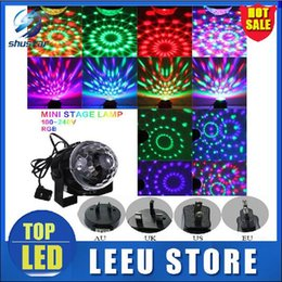 Wholesale Led Color Change Mini Ball - 2pcs LED Stage lamp Mini Rotating RGB Colorful lamp Magic Ball Party Light Disco Lighting DJ Party KTV Moving Head Stage Light Laser Light