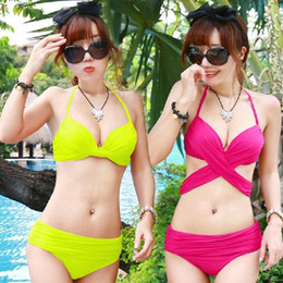 Wholesale Korean Swimsuit Women - 2015 Summer Factory Supplier Korean Style Steel Prop Gather Chest Variety Fluorescent Green Women Bikini Swimsuit 4 colors A061838