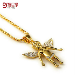 Wholesale Real Angels - Angel Series  High Quality 18K real Gold plated Fly Boy Angel Baby Necklaces Pendants Hip Hop Pendants Micro cz Gold Necklace