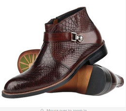 Wholesale Classic Leather Boots For Men - GRIMENTIN fashion classic luxury brand crocodile mens shoes winter ankle boots genuine leather black brown for men size:6-10
