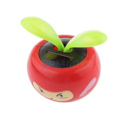 Wholesale Solar Power Flower Pot - Wholesale-Cute Solar Powered Facial Flower Pot Flip Flap Leaf Dancing Toys Red