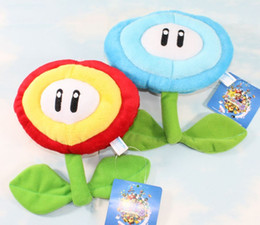 "Wholesale Super Mario Bros Stuffed Animals - 6.5"" 17cm Ice & Fire Flower Super Mario Bros Plush Dolls Stuffed Animals Plus Gifts Hot Sale New"