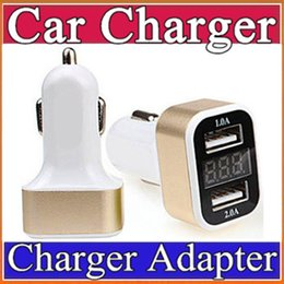 Wholesale I Phone Leads - 2016 newest model with LED voltage and current display 3.1A dual USB intelligent digital display car charger for moible phone 7 plus I-CL