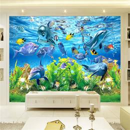 Wholesale aquarium live - Free Shipping 3D custom wallpaper underwater world marine fish mural children room TV backdrop aquarium wallpaper mural