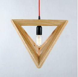 luminária de ferro escada Desconto Lustres de madeira simples triângulo moderno único lâmpadas de madeira maciça penduradas