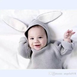 Wholesale Knitting Rabbit Coat - INS winter Baby sweater knitting coat boys and girls rabbit ears jumper Sweaters clothing baby hooded pullover E1241