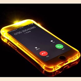 Wholesale Black Plastic Edging - Cheap TPU+PC LED Flash Light Up Case Remind Incoming Call Cover for iPhone 7 SE 6 6S Plus Samsung S7 S6 Edge Note 5 Clear Transparent Skin