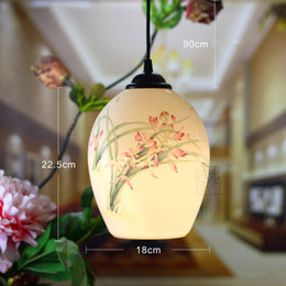 Wholesale Hand Painted Art Ceramics - Chinese Style Beautiful E27 AC85-265V Ceramic Hand-painted Pendant Lamps Kitchen Creative Warm Lighting Fixture