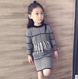 Wholesale Girls Bird Top - Kids outfits fashion girls little birds embroidery tassel tops+plaid PP skirt 2pcs set kid slim outfits Autumn new girls clothing G1134