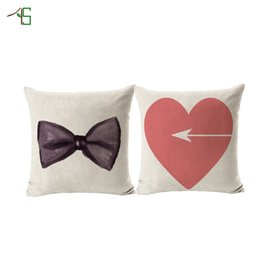 Wholesale Furniture Weaves - Love Heart Cushion Printed Linen Lover Pillow Hot Sale For Sofa Furniture & Home Decorative