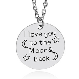 Wholesale China Wholesale Manufacturer - I love You To The Moon Back necklace quote letter Star and moon hand stamped Necklace Pendants For Lover china manufacturer