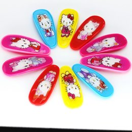 Wholesale Wholesale Hair Plastic Snaps - Wholesale- 10pcs Isnice Carton Candy Color Baby Girls Hairpin 5.6cm BB Clips Snap Band Hairpins Toddler Kids Hair Accessories