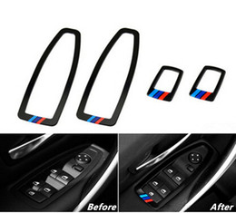 Wholesale Glass Panels For Windows - Car Window Glass Lifting panel decoration 4pcs for BMW 1 3 series GT 320 f30 f35 Door Armrest frame Trim decals