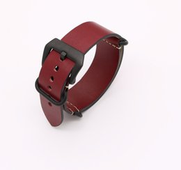 Wholesale Belt Buckle Rings For Women - 24mm Newest Man Women Red VINTAGE Watch Band Strap Belt Real Smooth Leather Silver Black Brushed Screw Buckle Luxury Nato Zulu Ring