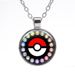 Wholesale Necklaces For Pictures - Glass Dome Jewelry Eevee Poke Necklace Poke Pendant Personalized Picture Necklaces Fashion Poke Accessories for Men Women