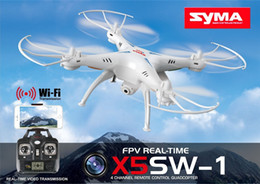 Wholesale Rc Camera Control - 100% Original SYMA X5SW X5SW-1 WIFI RC Drone Dron 2.4GHz 4CH Real Time HD FPV Camera RC Helicopter Drones 6 Axis Quadcopter Gyro Quad copter