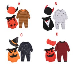 Wholesale Baby Boys Long Sleeve Vest - Halloween baby clothes devil vampire pumpkin hat rompers vest 3pcs sets newborn boy jumpsuits toddler girls boys sets DHL