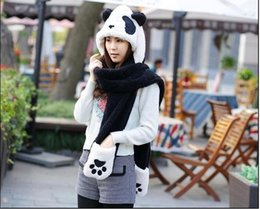 Wholesale Scarf Beanie One - Wholesale-2015 New Autumn Winter Cute Panda Women's Hats Plush One Hooded Scarves Gloves Cartoon Design Beanie Cap