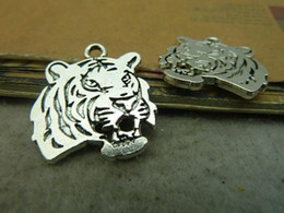 Wholesale Elephant Head Necklace - 10pcs 24x27mm antique silver tiger head pendant, bronze tiger head charm, animal necklace setting alloy elephant Jewelry findings C4577
