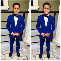 Wholesale Boys Tuxedo Suits - Royal Blue Kid's Formal Wedding Groom Tuxedos Flower Boys Children Party Suits