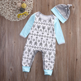 Wholesale Infant High Tops - high quality kids boy girl bodysuit 2016 Newborn Infant Baby Boys Girls Arrows Romper cotton Jumpsuit+cute Hat Outfits top casual Clothes
