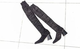 Wholesale Black Over Knee Boots Buckles - fashionville*u694 34 40 genuine leather black glitter stretch thigh high thick heel boots fashion women winter vogue brand