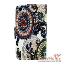 Wholesale Iphone4s Covers Leather - European Classic Tribe Pattern Brown Round Beautiful Picture Cell Phone case PU Leather PC Hard Cover for Apple iPhone4s 4