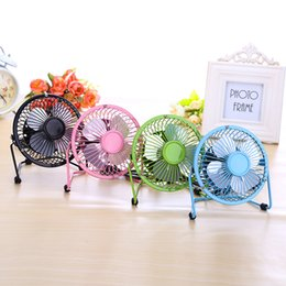 "Wholesale Portable Electric Radiators - USB Electric 4"" Metal Head Fan 360 Rotate Metel Mute Radiator Fan Mini Portable Cooler Cooling Desktop Power PC Laptop Desk Fan 120pcs free"