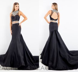 Wholesale Memaid Prom Dresses - 2017 Prom Dresses Black Memaid Dress Cheap Two Pieces Beading Party Dress Sweep Train Open Back Sexy High Neck Sleeveless High Quality
