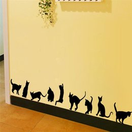 Wholesale Chinese 3d Posters - 100pcs 9 cute cats playing wall stickers room decoration ZY706 3d diy vinyl adesivos de paredes home decals animals mural art poster 4.0